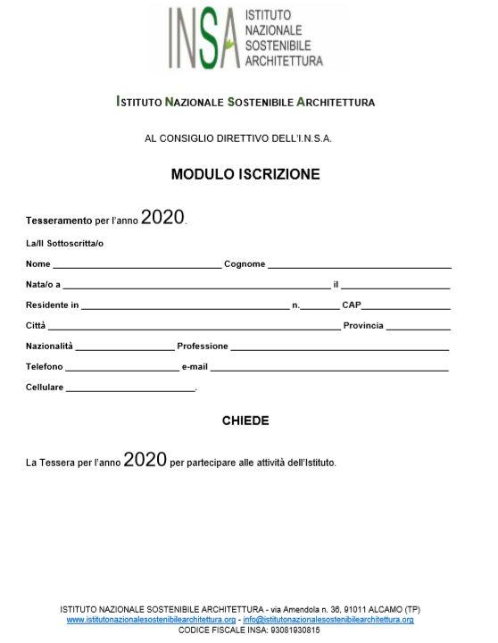 Immagine del modulo di iscrizione, pag. 1