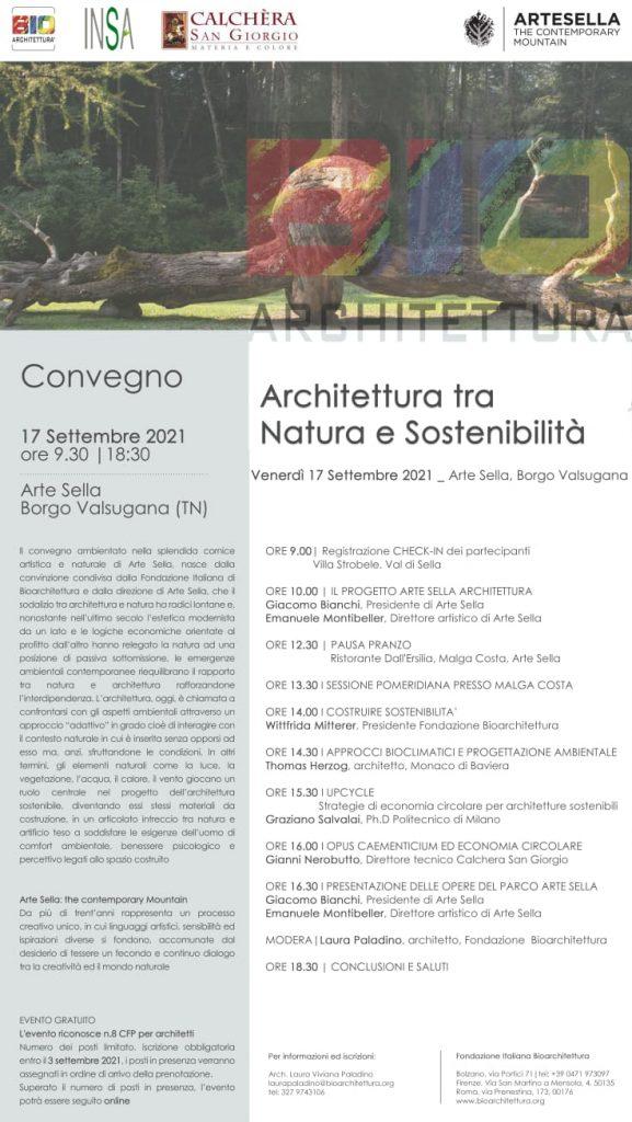 """Locandina convegno """"Architettura tra Natura e Sostenibile"""""""